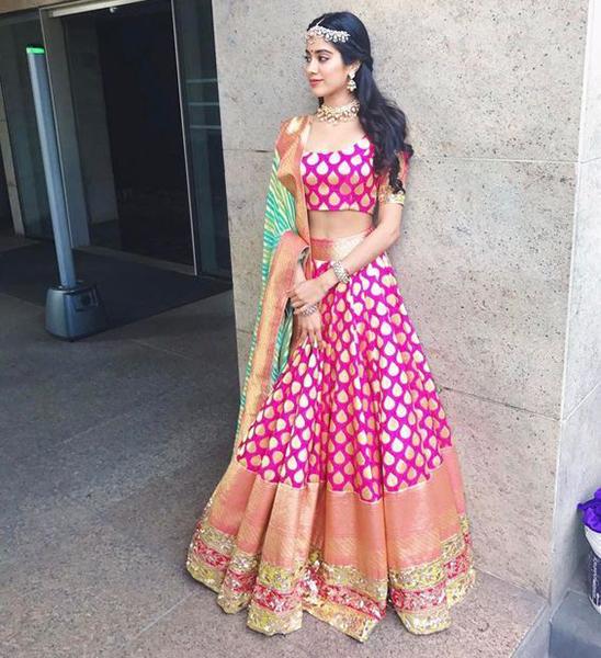 Rani Pink Banarasi Silk Lehenga by Manish Malhotra