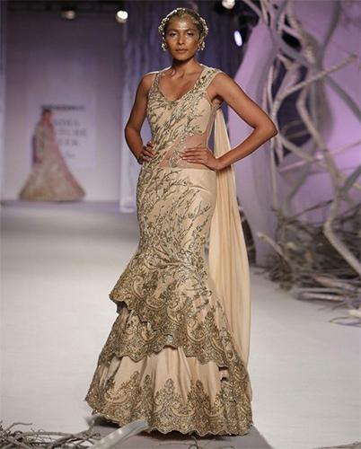 Layered Style Lehenga Saree