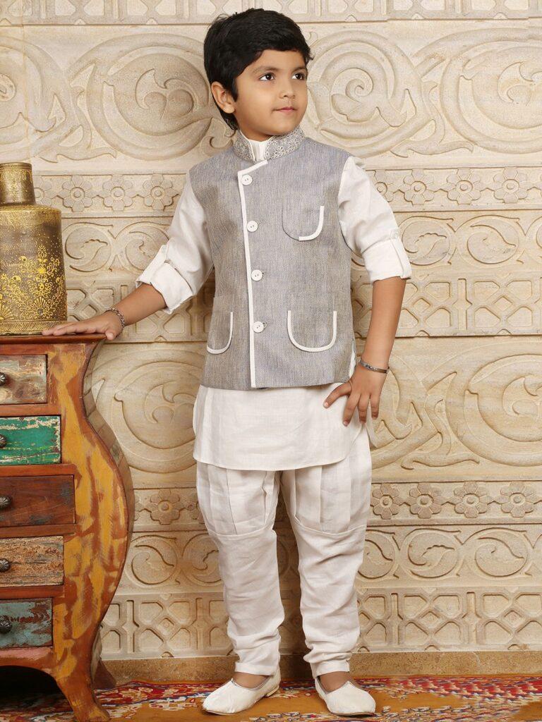 Indian Designer Waistcoat Set For Boys